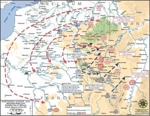 Het Duitse aanvalsplan zoals in gang gezet in 1914. Door een omtrekkende  beweging te maken werd het Franse leger aan in Noord Oosten van Frankrijk omsingeld worden. Toen dit mislukte ontstond de loopgraven oorlog, die tot ver in 1918 aan zou houden.