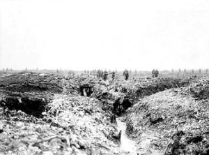 Vimy Ridge in 1917.... door alle bombardementen is er geen groen meer over