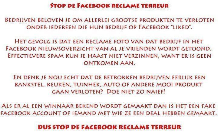 Protest tegen reclame terreur op Facebook